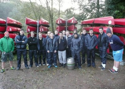Academy members are all kitted out for a kayak race at Ross-on-Wye