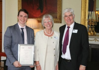 Academy Leader Paul Millington congratulates James Owen on being Highly Commended for the Alfred Manly Management award