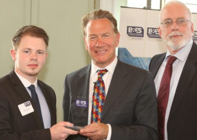 Alfie Steadman receives the BESA Craft Trainee of the Year award from former Government Minister Michael Portillo